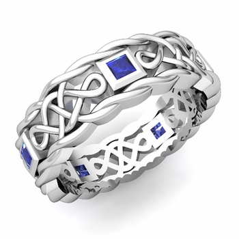 Princess Cut Sapphire Ring in 14k Gold Celtic Knot Wedding Band, 7mm