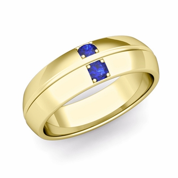 Mens Comfort Fit Sapphire Wedding Band Ring in 18k Gold, 6mm