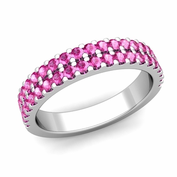 Two Row Diamond and Pink Sapphire Wedding Ring Band in 14k Gold