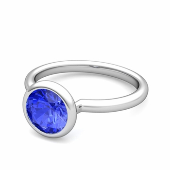 Bezel Set Solitaire Ceylon Sapphire Ring in 14k Gold, 7mm