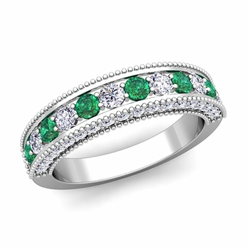 Vintage Inspired Emerald and Diamond Wedding Ring Band in 14k Gold