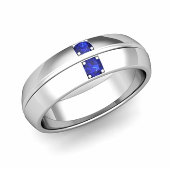 Mens Comfort Fit Sapphire Wedding Band Ring in Platinum, 6mm