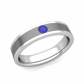 Solitaire Sapphire Mens Wedding Band in 14k Gold Comfort Fit Ring, 5mm