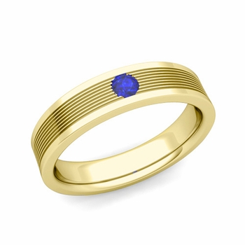 Solitaire Sapphire Mens Wedding Band in 18k Gold Comfort Fit Ring, 5mm