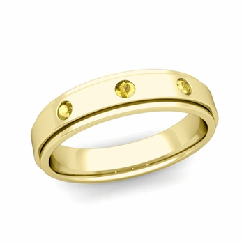 3 Stone Yellow Sapphire Mens Wedding Ring in 18k Gold Comfort Fit Ring, 5mm