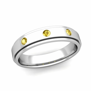 3 Stone Yellow Sapphire Mens Wedding Ring in Platinum Comfort Fit Ring, 5mm