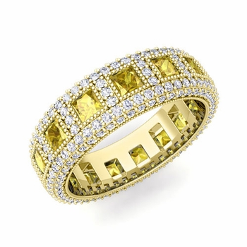 Pave Diamond and Princess Cut Yellow Sapphire Eternity Band in 18k Gold, 6mm