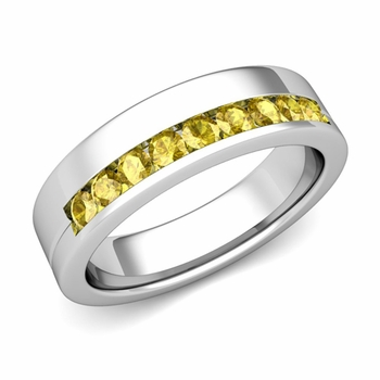 Channel Set Comfort Fit Yellow Sapphire Wedding Ring in Platinum, 4mm