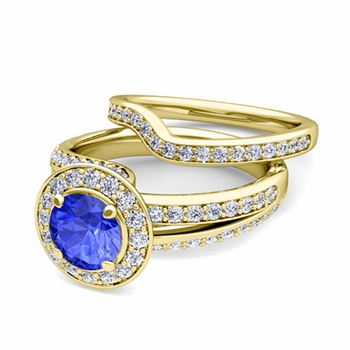 Wave Diamond and Ceylon Sapphire Engagement Ring Bridal Set in 18k Gold, 7mm