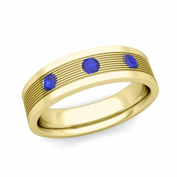 3 Stone Sapphire Mens Wedding Band in 18k Gold Comfort Fit Ring, 5mm