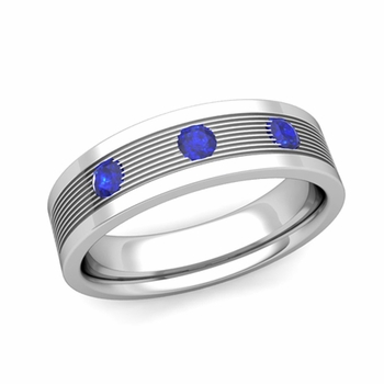 3 Stone Sapphire Mens Wedding Band in Platinum Comfort Fit Ring, 5mm