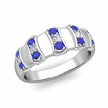 Geometric Diamond and Sapphire Mens Wedding Ring Band in Platinum, 8mm