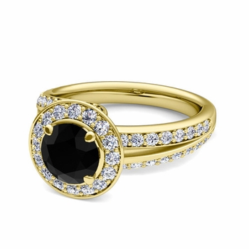 Wave Black and White Diamond Halo Engagement Ring in 18k Gold, 7mm