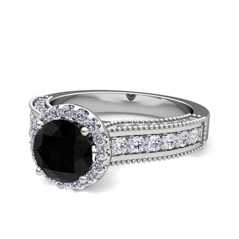 Heirloom Black and White Diamond Engagement Ring in 14k Gold, 7mm