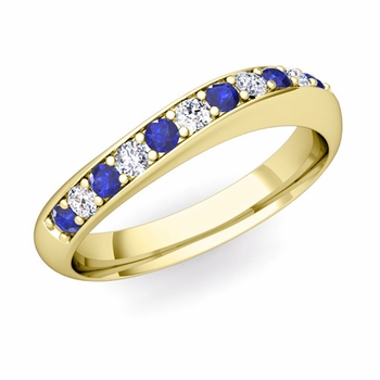 Curved Diamond and Sapphire Wedding Ring in 18k Gold, 4mm
