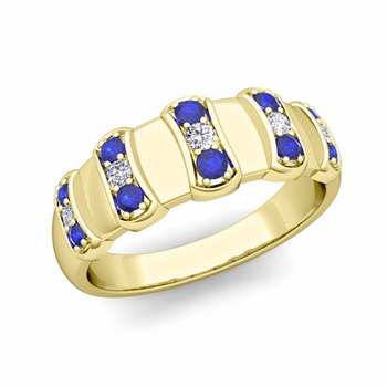 Geometric Diamond and Sapphire Mens Wedding Ring Band in 18k Gold, 8mm