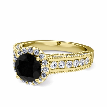 Heirloom Black and White Diamond Engagement Ring in 18k Gold, 7mm