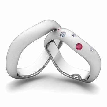 Matching Wedding Band in 14k Gold Curved Diamond and Ruby Wedding Ring