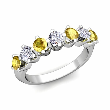 Crown Diamond and Yellow Sapphire Ring in 14k Gold Knife Edge Wedding Band