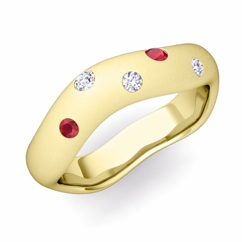 Curved Diamond and Ruby Wedding Ring in 18k Gold, Satin Finish, 5mm