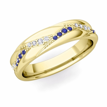 Wave Wedding Band in 18k Gold Diamond and Sapphire Ring, 5mm