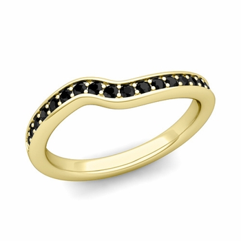 Petite Curved Black Diamond Wedding Band Ring in 18k Gold