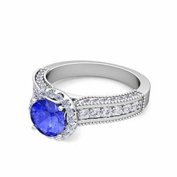Heirloom Diamond and Ceylon Sapphire Engagement Ring in 14k Gold, 7mm