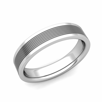 Groove Comfort Fit Mens Wedding Band Ring in Platinum, 5mm