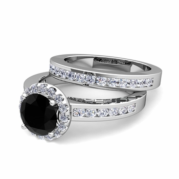 Halo Bridal Set: Black and White Diamond Engagement Wedding Ring in 14k Gold, 7mm
