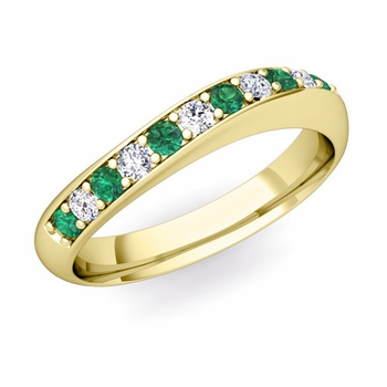 Curved Diamond and Emerald Wedding Ring in 18k Gold, 4mm