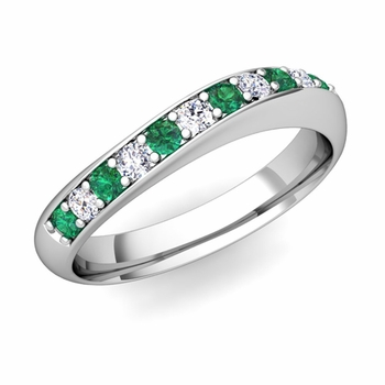 Curved Diamond and Emerald Wedding Ring in Platinum, 4mm