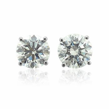 Diamond Earrings in 14k White Gold 4 Prong Setting G, SI1, 0.50 cttw