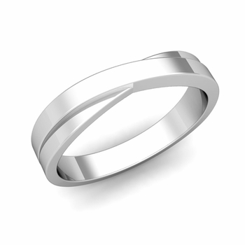 Infinity Wedding Band in Platinum Polished Finish Comfort Fit Ring, 4mm