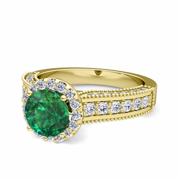 Heirloom Diamond and Emerald Engagement Ring in 18k Gold, 7mm