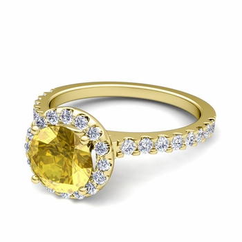 Petite Pave Set Diamond and Yellow Sapphire Halo Engagement Ring in 18k Gold, 7mm