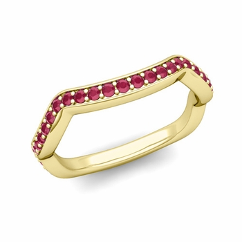 Unique Curved Ruby Wedding Ring Band in 18k Gold