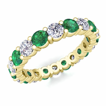 Diamond and Emerald Eternity Ring Band in 18k Gold