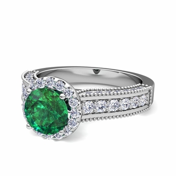 Heirloom Diamond and Emerald Engagement Ring in Platinum, 7mm