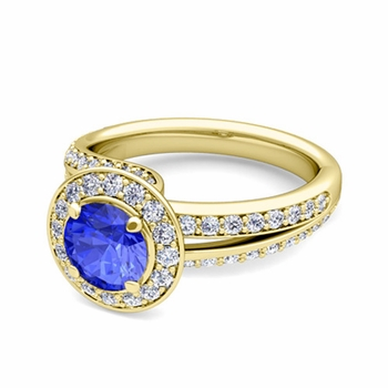 Wave Diamond and Ceylon Sapphire Halo Engagement Ring in 18k Gold, 7mm