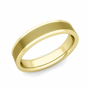 Groove Comfort Fit Mens Wedding Band Ring in 18k Gold, 5mm