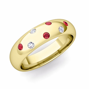Comfort Fit Scattered Ruby and Diamond Wedding Band in 18k Gold, 5mm