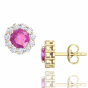 Halo Diamond and Pink Sapphire Earrings in 18k Gold Studs, 5mm