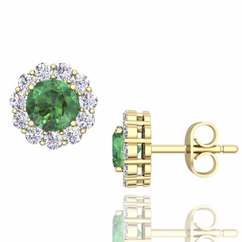 Halo Diamond and Emerald Earrings in 18k Gold Studs, 5mm