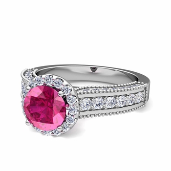 Heirloom Diamond and Pink Sapphire Engagement Ring in 14k Gold, 7mm