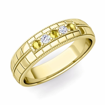 Yellow Sapphire and Diamond Mens Wedding Band in 18k Gold 5 Stone Ring, 5mm