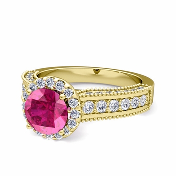 Heirloom Diamond and Pink Sapphire Engagement Ring in 18k Gold, 7mm