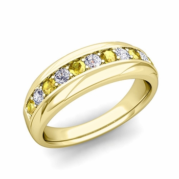Brilliant Diamond and Yellow Sapphire Wedding Ring Band in 18k Gold, 6mm