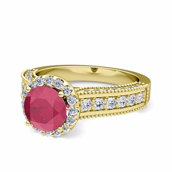 Heirloom Diamond and Ruby Engagement Ring in 18k Gold, 6mm