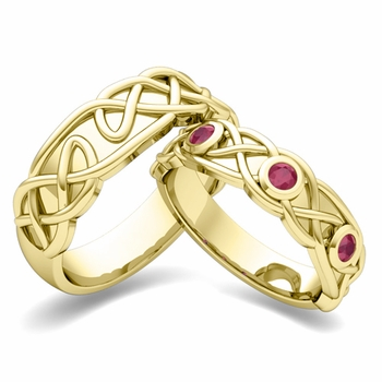 Matching Wedding Band in 18k Gold Celtic Knot Ruby Wedding Ring