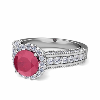 Heirloom Diamond and Ruby Engagement Ring in Platinum, 6mm